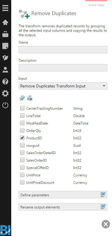 Select input columns to be grouped and copied to the output