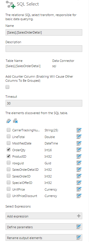 SQL Select transform configuration - Screen 1