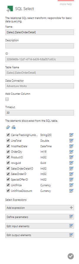 SQL Select transform configuration