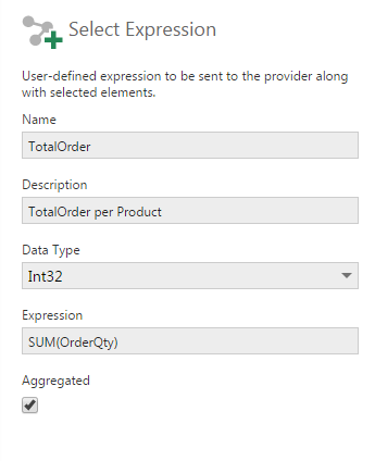SQL Select transform configuration - Sample Expression