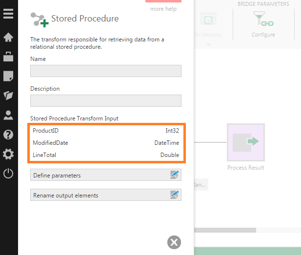 Configuration dialog for the Stored Procedure transform