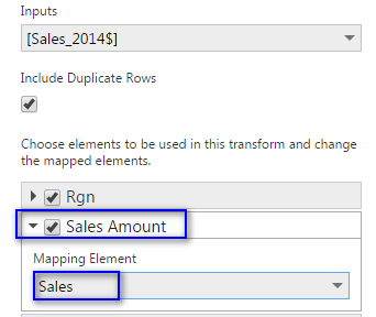Column Mapping - Sales :S ales Amount