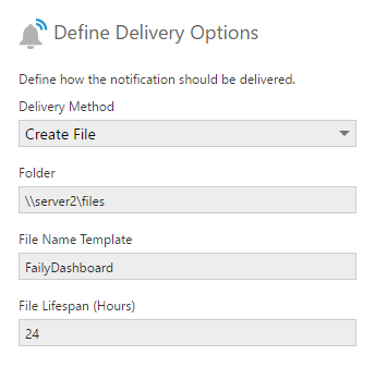 Deliver notification as a file