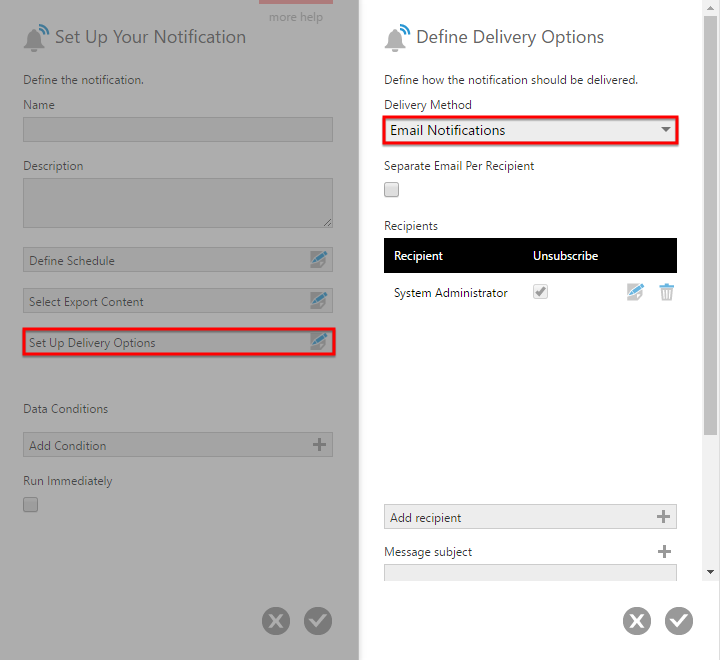 Deliver notification as an email message