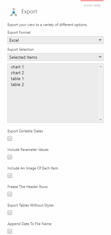 Export selected visualizations to Excel format
