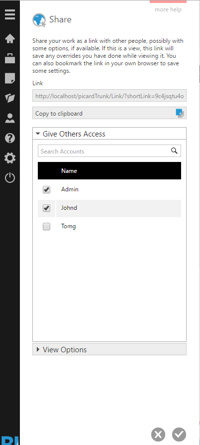 Select users to receive viewing access