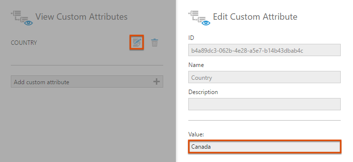 Set the Country custom attribute value to Canada