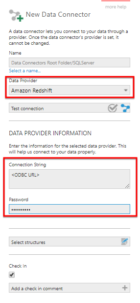Create a new Data connector for Amazon Redshift database