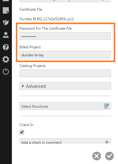 Enter the password and select the billed project