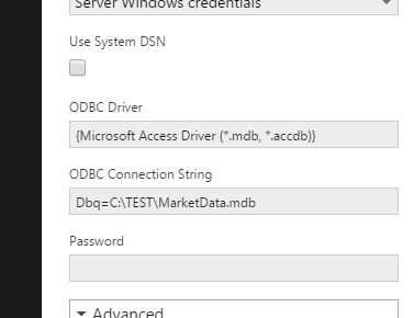 Enter the ODBC connection string
