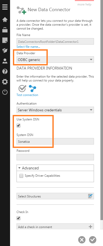 Connect using an existing system DSN