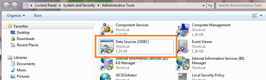 Data Sources (ODBC) shortcut in Administrative Tools