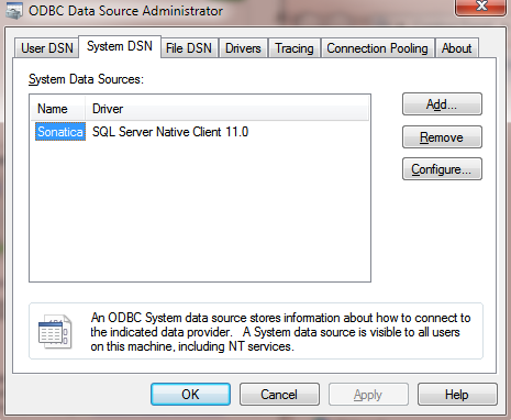 Managing System DSN entries in Windows