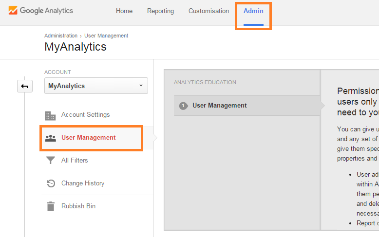 Sign in to Google Analytics and go to User Management screen