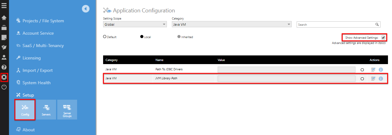 Indicate the path to libraries that are used by the JDBC drivers