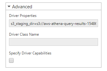 Provide driver properties that cannot be included in the URL