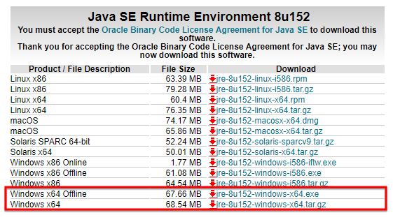 Download and install the 64-bit version of Java SE Runtime Environment version 8 or above