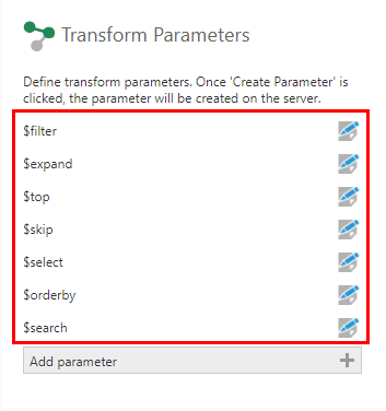 Query options available in the Tabular Select's parameters