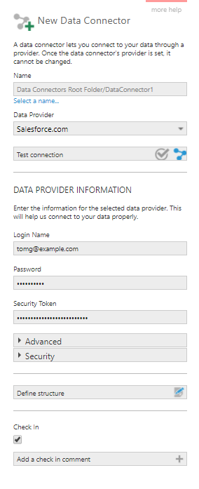 Create a new data connector for Salesforce provider