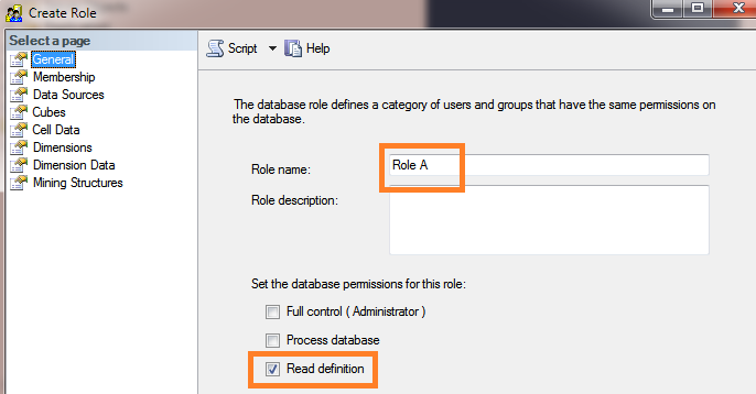 Set the name and database permission for Role A