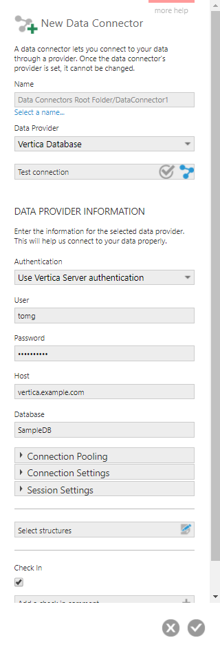Create a new data connector for Vertica Database