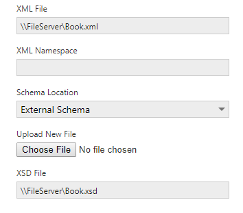 XML File external schema options.