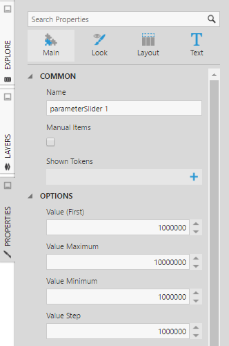 Set slider properties