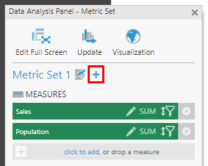 Click the plus to add another metric set if needed