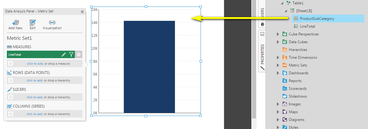 Drag a measure column onto the empty pareto chart