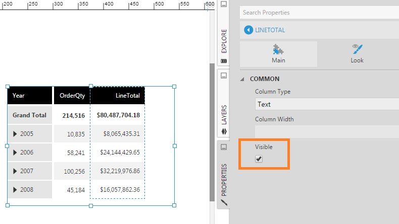 Hide a column | How-To | Data Visualizations | Documentation