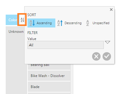 Click the A-Z icon to open the Sort & Filter popup