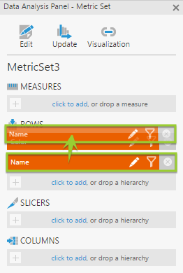 Use the Data Analysis Panel to switch the columns back