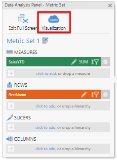 Switch to the Visualization tab