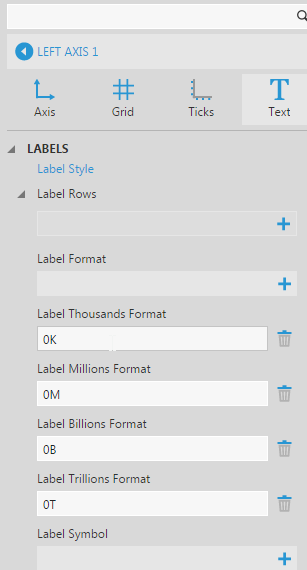 Axis Label Settings
