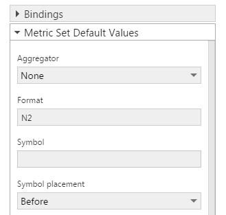 Metric Set Default Values
