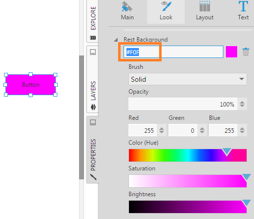 Entering hex values for a color property