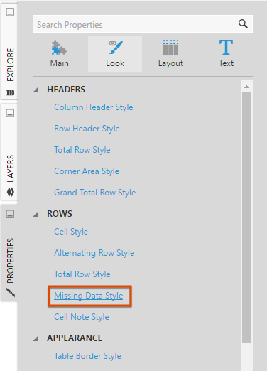 Select Missing Data Style