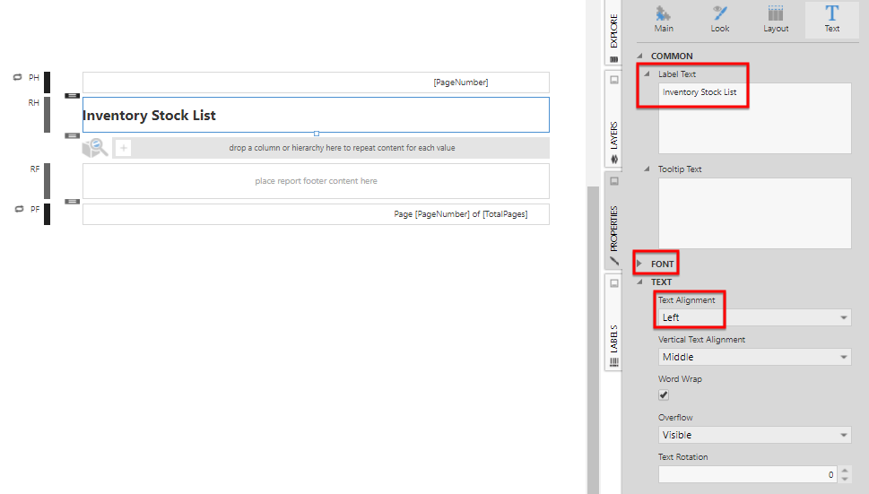 Configure the title in the Report Header