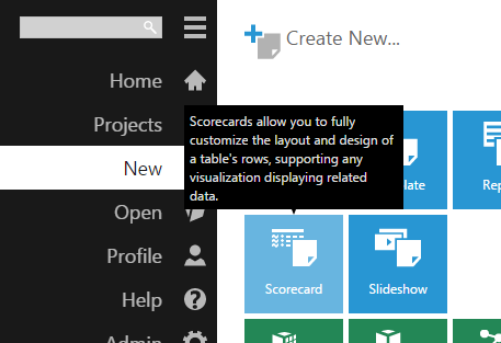Create a new scorecard from main menu