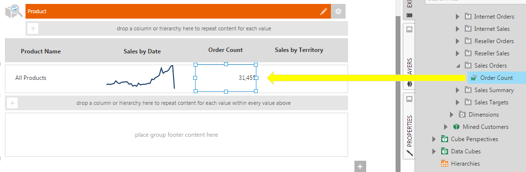 Use a data label to show the Order Count