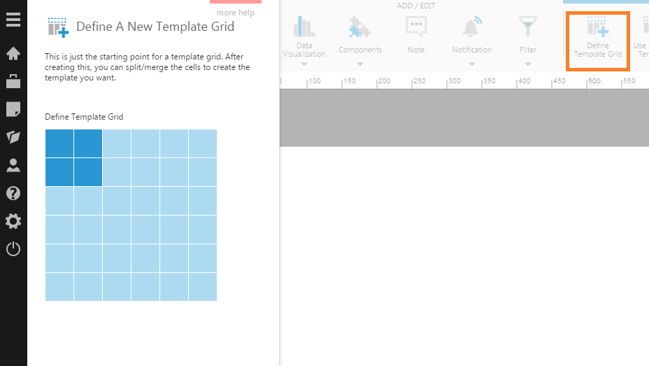 Define a 2x2 template grid