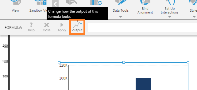 Output button now indicates a Line chart type