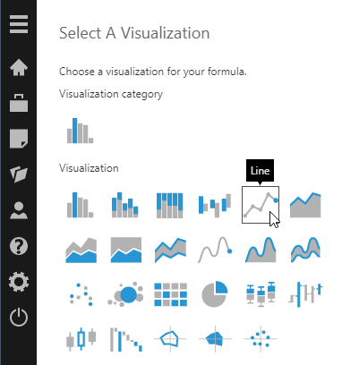 Choose the type of visualization for the formula result