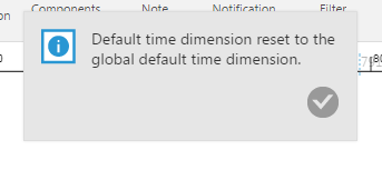 Default time dimension was reset to the global default