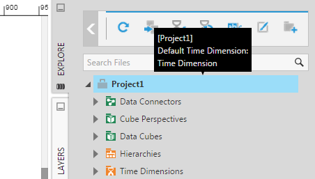 Tooltip shows the default time dimension for this project