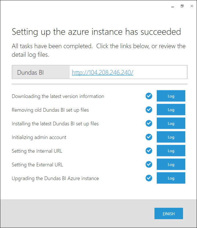 The Dundas BI Azure application setup summary.