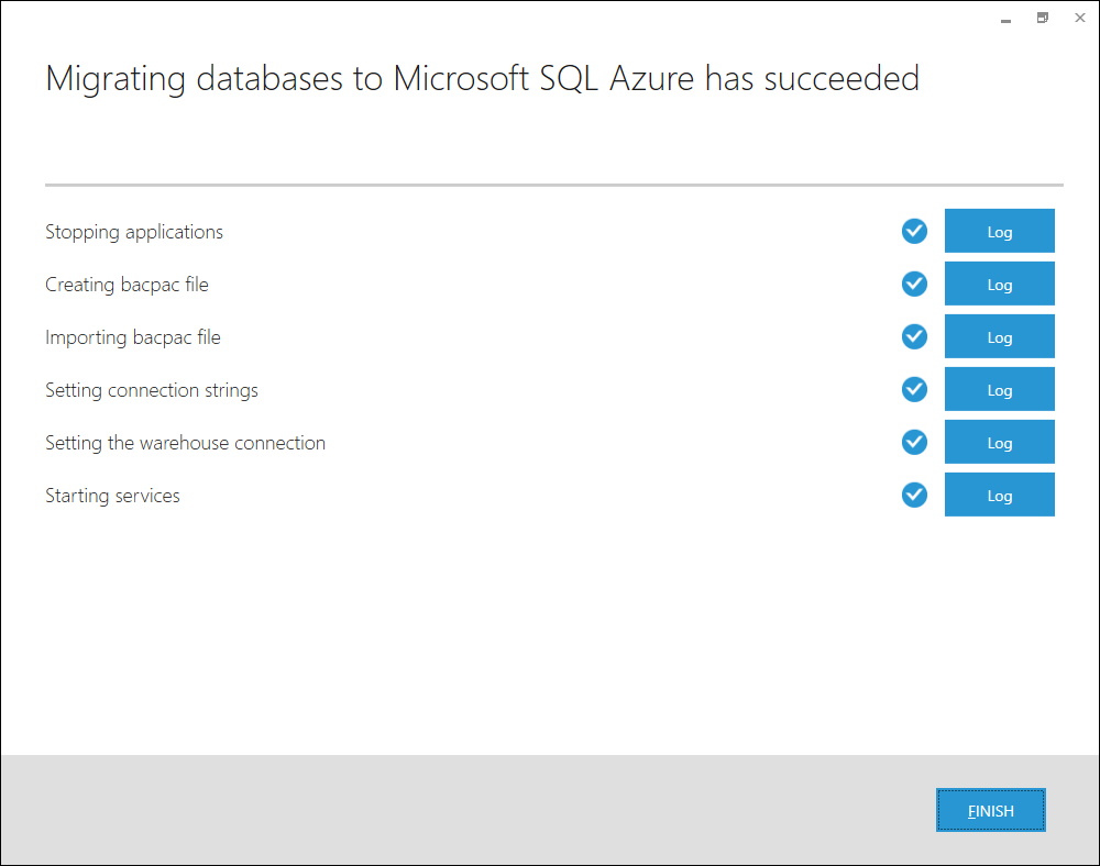 Microsoft SQL Azure Migration process finished.