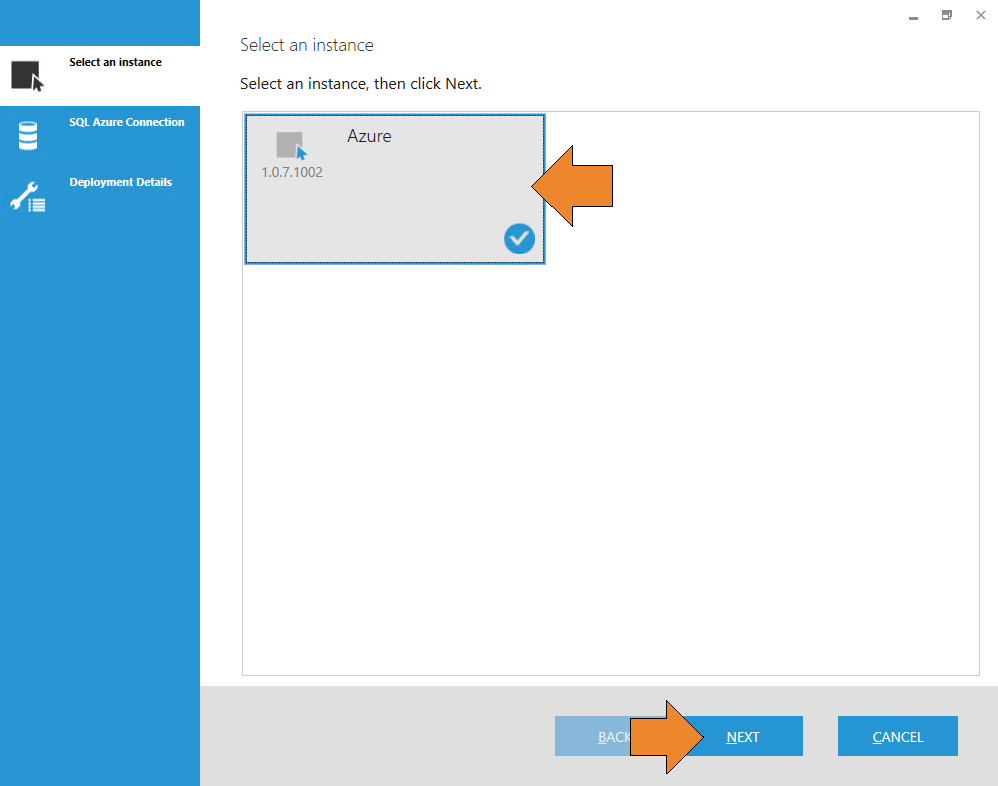 Select the Azure instance, and click the <strong>Next</strong> button.
