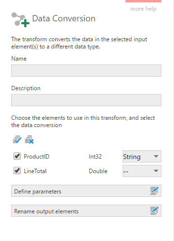Configure the Data Conversion Transform to change the ProductId from Int to String