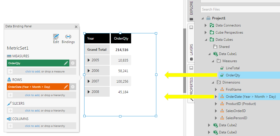 Drag columns to set up a table visualization